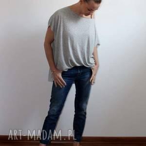 ręcznie zrobione bluzki zwiewna szara bluzka oversize szary melanż