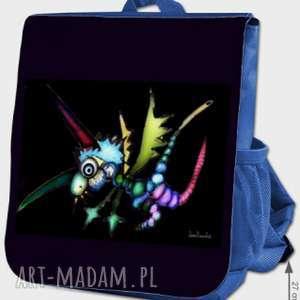 plecak z motywem leos laron anny dmowskiej, plecak, kolorowo, fantazyjnie, design