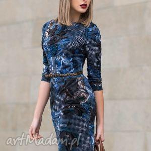 Sukienka GRETA Midi Telimena, sukienka, midi, ołówkowa, pepitka, granat, kwiaty
