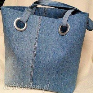 ręcznie robione na ramię niebieska torba z recyklingu jeansu