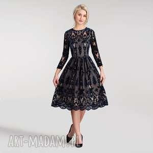 sukienki sukienka aida midi nikoletta granat (podkład cielisty)