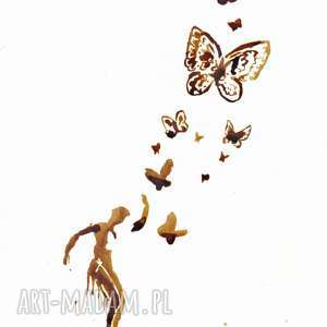 obrazy motyli taniec - obraz kawą malowany, motyle, tancerka, lot, kawa, wolność
