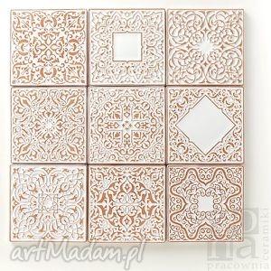 kafle dziewięć ornamentów białych, kafle, dekory, płytki, scienne, marokańskie