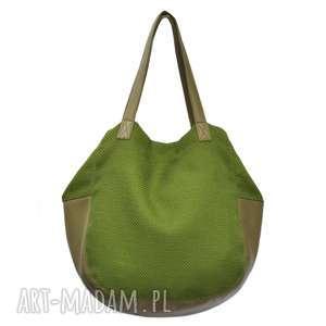 hand-made na ramię 24-0009 zielona torebka damska worek / torba na studia swallow