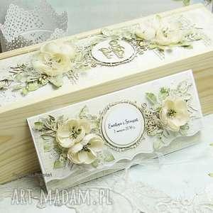 ślub komplet ślubny - opakowanie na wino i kartka kopertówka