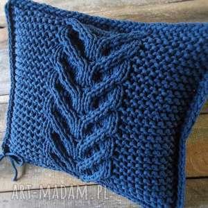handmade poduszki jeansowa splatana poduszka