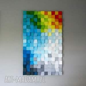 dekoracje mozaika drewniana, obraz drewniany 3d dyfuzja_8, loft, modern, kolor