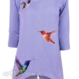 Sweterek z naszywkami S/M,L/XL, ptaki, naszywki, aplikacje, dzianina, sweterek