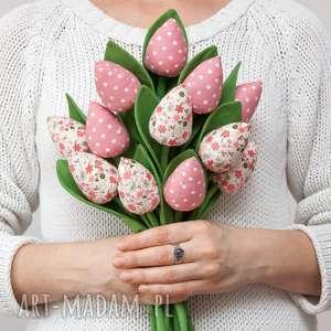Tulipany z materiału bukiet pastelowy róż 9 sztuk, tulipany, fabric-flowers
