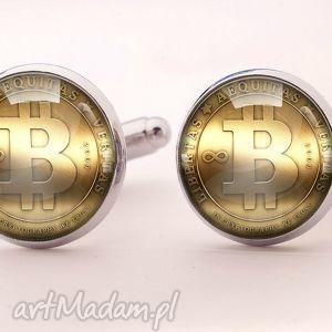 bitcoin - spinki do mankietów - spinki, mankietów, bitcoin, moneta, hazard