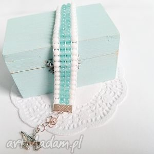 Bransoletka tkana z koralików - miętowy i biel - ,bransoletka,biżuteria,koraliki,krosno,
