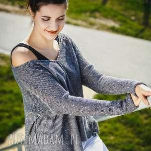 Sweter luźny, z dużym dekoltem swetry hermina damski, luźny