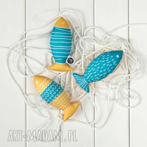 ryba turkusowo-żółta, zestaw 3 ryb, eko dekoracja, eco, ryba, turkusowa