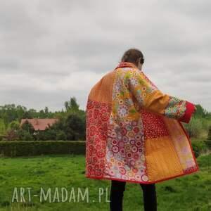 PatchworkArt, płaszcz patchworkowy w stylu boho, długi, kimonowy- waciak - płaszcz kimono