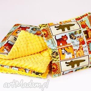 zestaw przedszkolaka safari żółty - kocyk, przedszkolaka, safari, poduszka