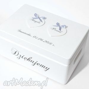Ślubne pudełko na koperty Kopertówka Personalizowane Napis Dziękujemy, paramłoda