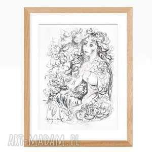 grafika kobieta ręcznie wykonana, 34 x 46, czarno biała, akt