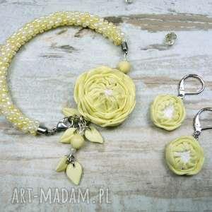 Prezent Komplet biżuterii - piwonie ecru, pastelowy żółty, romantyczny, vintage