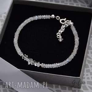 Kamień księżycowy i diamenty z herkimer srebrna bransoletka grey