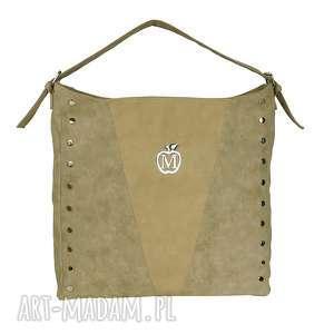 MANZANA torebka worek ćwieki- beżowa, torebka, worek, duża, pojemna, ćwieki, modna
