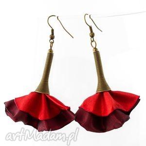 kolczyki z tkaniny czerwone wachlarze, kolczyki, materiałowe
