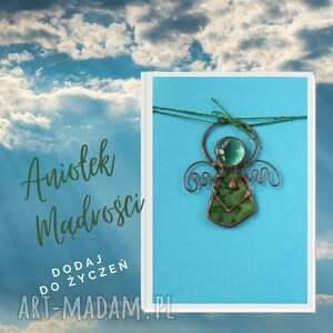 kartka na życzenia z zielonym aniołkiem mądrości, święta