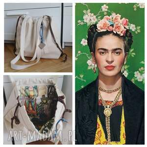 płócienna shopperbag worek frida kahlo, shopperbag, torba, worek, płótno