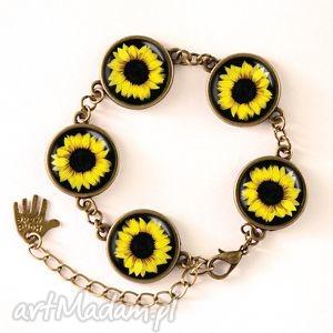 słoneczniki - bransoletka biżuteria, kwiatowa, kobieca, prezent