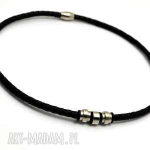handmade męska naszyjnik/obroża skóra i stal hombree plait black