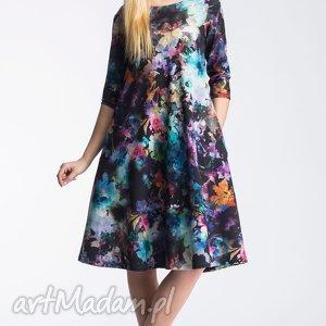 sukienka angel midi azalia, sukienka, midi, rozkloszowana, kieszenie, kwiaty