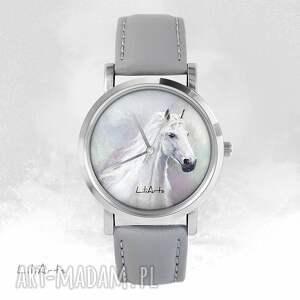 Prezent Zegarek - Biały koń szary, skórzany, zegarek, bransoletka,