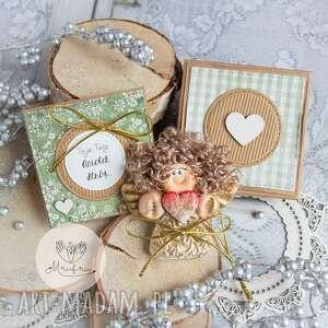 anioł z intencją kartka oraz pudełeczko personalizowana treść, na chrzest