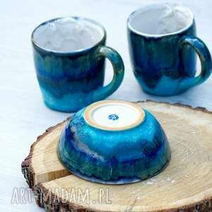 Ceramika azulhorse miska na płatki, niebieska miska, z koniem