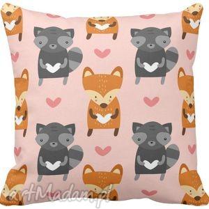 Poszewka na poduszkę dziecięca mały lis i szop 3004 , liski, szop, pracz, szary