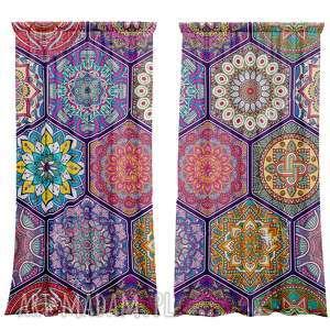 dekoracje komplet zasłon marokański hexagon, zasłony, kotary, firanki