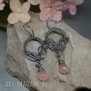 kolczyki z różowym kwarcem ilverin, srebrne kolczyki, wire wrapping, kwarc