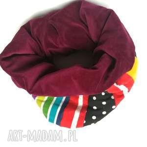Komin kolorowy ciepły patchworkowy boho etno zwariowany handmade