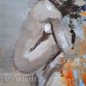 unikalny, akty, akt obraz, kobieta niebieski abstrakcja obraz