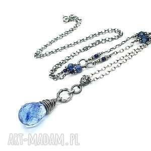 Royal blue -naszyjnik, srebro, oksydowane, kwarc, kyanit, szafir