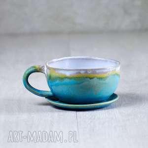 ręcznie robione kubki rękodzieło ceramiczny kubek filiżanka xl turkus 450