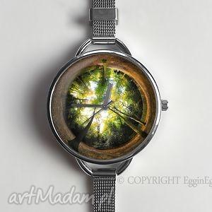 Prezent Las - zegarek z dużą tarczką 0119WS, zegarek, las, drzewo, prezent, grafiką