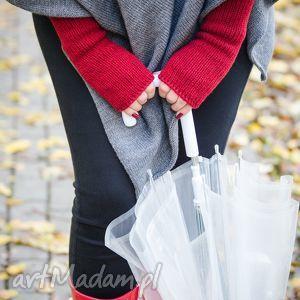 mitenki czerwone, wełniane, damskie rękawiczki, prezent dla niej, zimowe