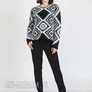 swetry sweter w etniczne wzory, swe101 czarny/biały mkm, dzianinowy, wzory