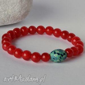 czerwone porzeczki - bransoletka, jadeity, kule, porzeczkowa, minerały, kamienie