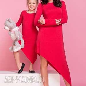 Sukienka asymetryczna z długim rękawem MAMA TD3, kolor czerwony, sukienka