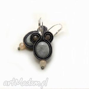kolczyki sutasz z akwamarynami, sznurek, eleganckie, wiszące, grafitowe, miętowe