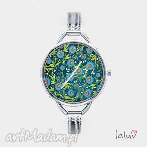Zegarek z grafiką MODRA ŁĄCZKA - ,łąka,ludowe,kwiaty,wiosna,grafika,prezent,