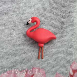 Flaming - broszka, flaming, flamingi, zoo, modelina, zwierzęta, zwierzę