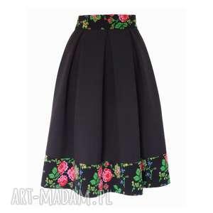 Czarna spódnica folk z kontrafałdami MIDI, spódnica-midi, spódnica-folkowa, góralska