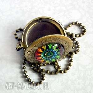 kolorowa mandala oryginalny otwieralny naszyjnik, sekretnik, medalion, brąz